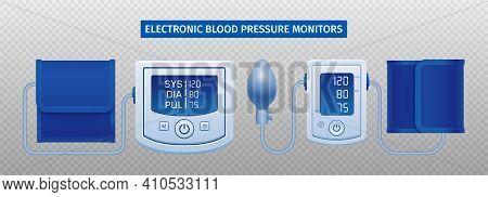 Two Electronic Digital Tonometers Arterial Blood Pressure Monitors Measuring Results Display Realist