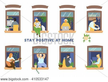 Set Of People In Windows Doing Different Activities. Studying, Reading Paper, Working, Cooking, Play