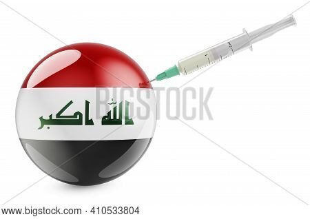 Syringe With Iraqi Flag. Vaccination In Iraq Concept, 3d Rendering Isolated On White Background