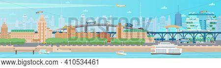 Horizontal Modern Summer City Panorama. Cityscape With Houses, Quay, Boats, Ferry, Train, Bridge, Ca