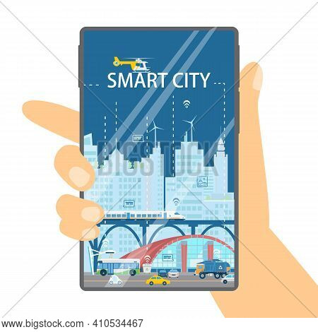 City In Your Smartphone Concept. Hand Holding Phone With Cityscape Of Smart City. Skyscrapers, High