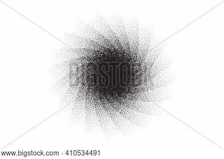 Dotwork Swirl Pattern Vector Background. Sand Grain Effect. Spiral Noise Stipple Dots. Abstract Nois