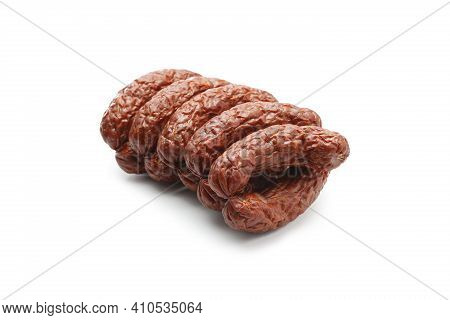 Rings Of Country Style Dry, Smoked Sausage, Isolated On A White Background. Traditional, Polish Meat