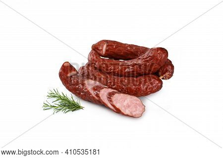 Rings Of Dry, Smoked Sausage, Isolated On A White Background. Traditional, Polish Meat Sausage.