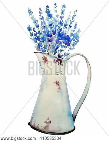 Handdrawn Watercolor Bouquet With Lavender And Wild Herbs In Jug.