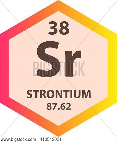 Sr Strontium Alkaline Earth Metal Chemical Element Vector Illustration Diagram, With Atomic Number A