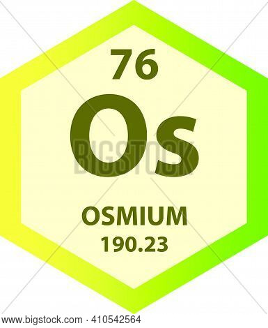 Os Osmium Transition Metal Chemical Element Vector Illustration Diagram, With Atomic Number And Mass