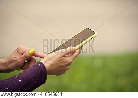 Providing Mobile Technology To Users. Smartphone With Touchscreen Technology. Cellphone In Female Ha
