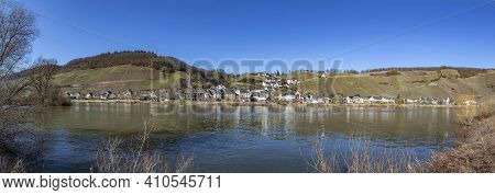 Scenic Mosel Valley Panorama Near Rachtig With View To Village Of Uerzig In Bright Morning Light