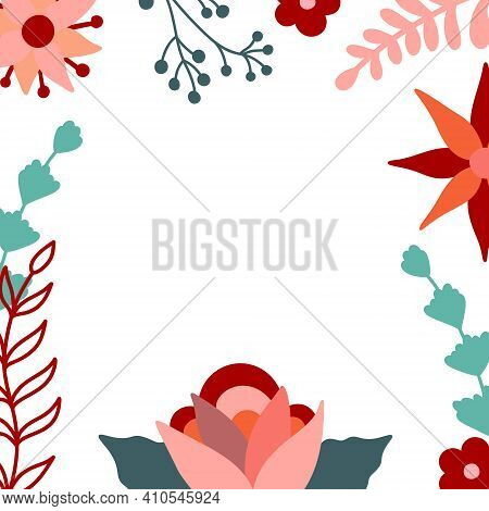 Floral Frame. Vector Decorative Square Frame With Stylised Flowers. Decoration In Naive Scandinavian