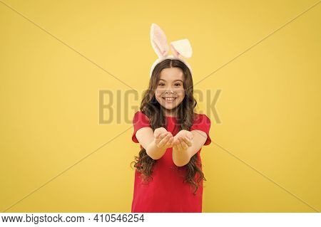 Look Here. Little Child Celebrate Easter. Small Child Easter Style. Bunny Child. Girl Child Wear Rab