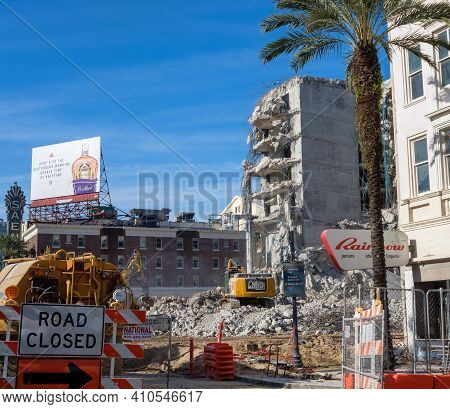 New Orleans, La - January 28: Demolishing The Collapsed Hard Rock Hotel Building On Canal Street On