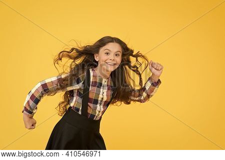 Extremely Effective Product. Child With Natural Beautiful Healthy Hair Yellow Background. Tips For H