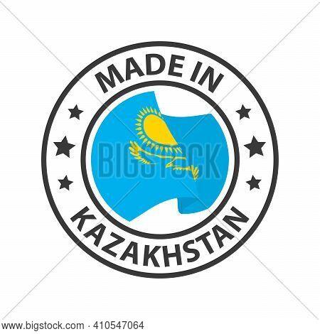 Made In Kazakhstan Icon. Stamp Sticker. Vector Illustration