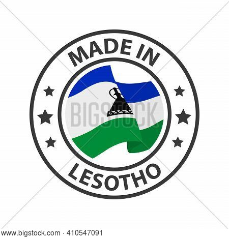 Made In Lesotho Icon. Stamp Sticker. Vector Illustration