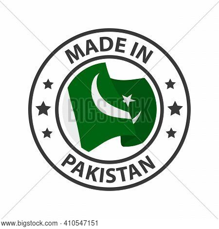 Made In Pakistan Icon. Stamp Sticker. Vector Illustration