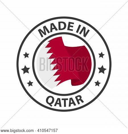 Made In Qatar Icon. Stamp Sticker. Vector Illustration