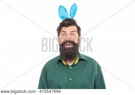 Happy Easter Holiday. Funny Man In Rabbit Ears. Brutal Easter Man Isolated On White. Bunny Hunt. Jus