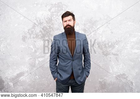 A Style For Every Story. Confident Businessman. Formal Fashion. Fashion. Bearded Man Hipster In Jack