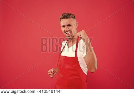 Cafe Staff. Barista Worker. Man Cook Wear Apron. Cafe Bar Barista Job Position. Cook Good Food At Ho
