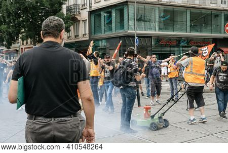 Strasbourg, France - June 18, 2018: Detonation Of Artisanal Bombs Used By Employees Of Sncf Public F