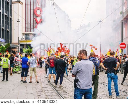 Strasbourg, France - Jun 18, 2018: Large Crowd Of People, Employees Of Sncf Public French Train Syst