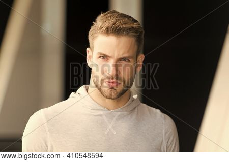 Cool Guy. Man Outdoors. Handsome Man In Casual Style. Fashion Look Of Sexy Man. Unshaven Man With Be