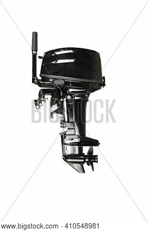 Outboard Motor Isolated On White Background Black