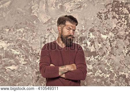 Confident And Brutal. Confident Hipster Abstract Background. Bearded Man Keep Arms Crossed. Confiden