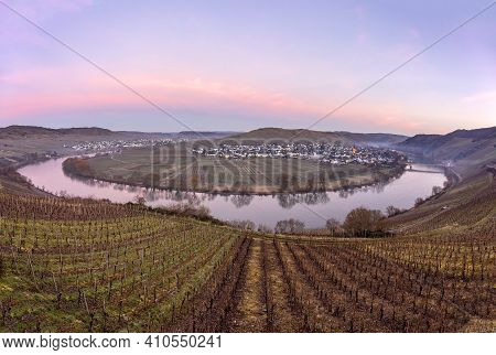 Scenic Moselle River Loop With Village Trittenheim Seen From Leiwen, Germany