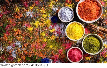 Holi Festival Celebration. Traditional Indian Holi Colours Powder Decoration With Paints. Top View O