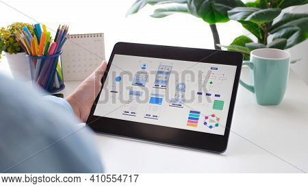Man Hand Holding Digital Tablet Wih Mobile App Development Prototype While Working At Home