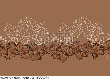 Horizontal Abstract Seamless Pattern Of Oak Acorns, For Backdrops Designs, Borders And Frames, Texti
