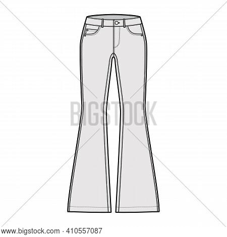 Jeans Flared Bottom Denim Pants Technical Fashion Illustration With Full Length, Low Waist, Rise, 5