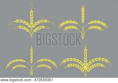 Golden Spikelets In 3d Style. Grey Background. Nature Background Vector. Stock Image. Eps 10.