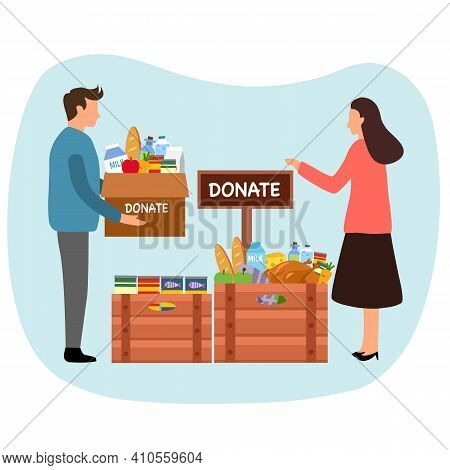 Volunteer People Sharing Food To Poverty Or Homeless People. Food Donation Concept. Time For Charity