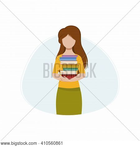A Beautiful Girl Is Holding A Stack Of Books. A Woman With Books In The Library. The Concept Of Read