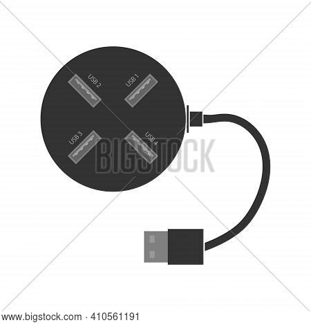 Round Usb Hub With Usb Ports, Port Signature And Power Cable. A Splitter For A Computer Or Laptop. F