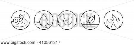 Five Elements Of Ayurveda Vector Outline Illustration