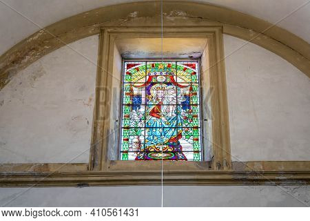 Dubrovnik, Croatia - Aug 20, 2020: Stained Glass Inside St. Ignatius Church In Old Town