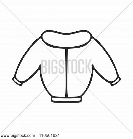 Jacket For The Baby Drawn With A Thick Black Line. Doodle Illustration Of Outerwear Isolated On A Wh