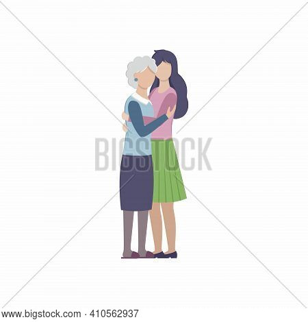 An Adult Daughter Hugs Her Elderly Mother. Mother And Child, Grandmother And Granddaughter. Vector F