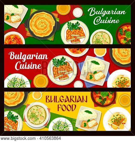 Bulgarian Cuisine Vegetable Food With Meat And Fish Vector Banners. Bryndza Cheese Dishes With Peppe