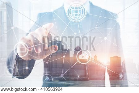 Ict Information And Telecommunication Technology And Iot Futuristic Background