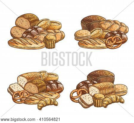 Fresh Bread And Pastry Vector Sketch Icons. Bakery Shop Buns, Wheat And Rye Bread Loaves, Pretzel, C