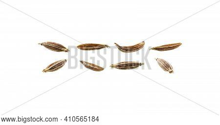 A Set Of Zira Seasoning Seeds. Isolated On A White Background