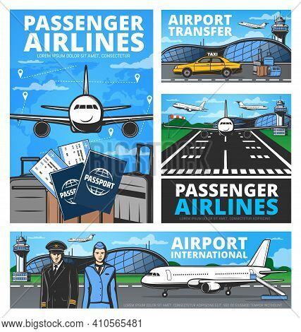 Aviation Vector Retro Posters. Passengers Airlines, International Airport, Taxi Transfer Service. Pi