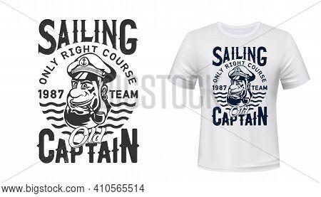 Captain Sailor T-shirt Print Mockup, Sailing Team Or Nautical Marine Club, Vector Emblem. Yachting O