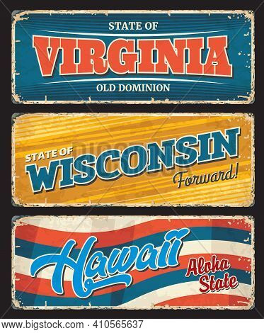 Usa Hawaii, America Virginia And Wisconsin States Metal Plates, Vector Retro Signs. Us City Or State