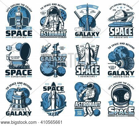 Space Planet, Astronaut And Rocket Isolated Vector Icons Of Galaxy And Universe Travel. Spaceship, S